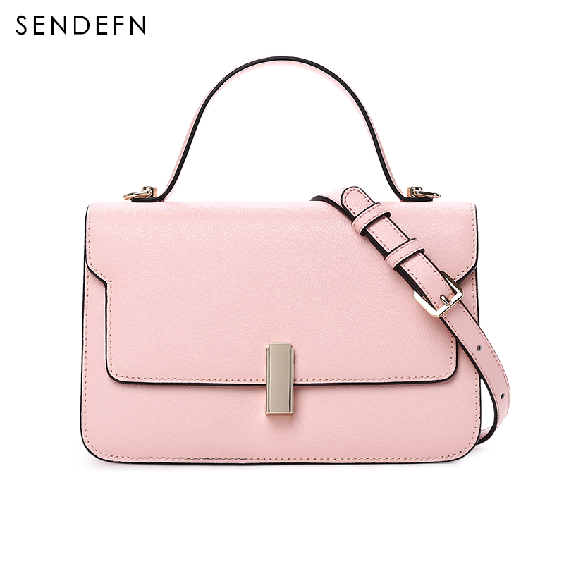 2017 New Sendefn Handbag Women Leather Handbags Fashion Mini Tote Bag With Zipper Small Women Messenger Bags Chain Black Bag viktor