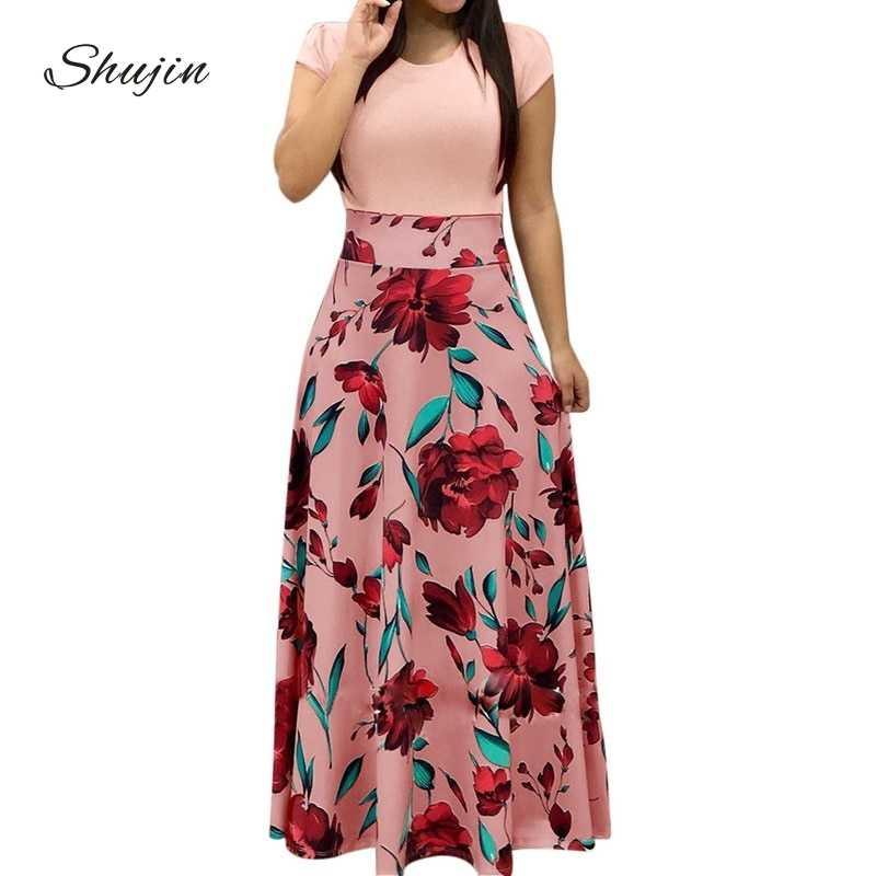 61a031fa5e3 SHUJIN Women Charming Floral Print Summer Patchwork Maxi Dress 2018 Casual  Short Sleeve Vintage Boho Beach