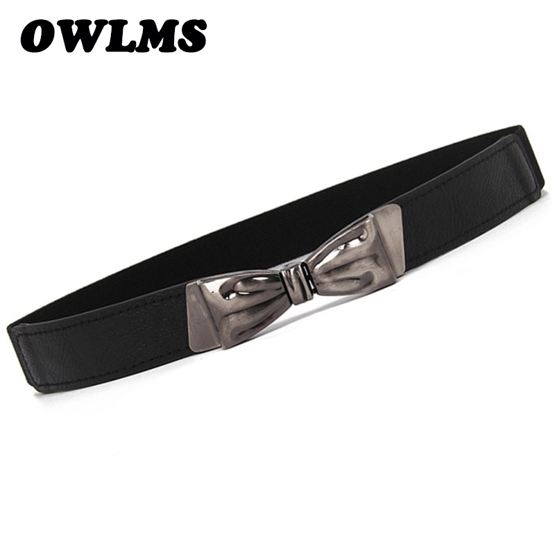 Bow Pant Cummerbund Alloy Black Buckle Thin Cummerbunds Elastic Belt Dress Decorate Women Cute Design New Arrival Gifts For Girl