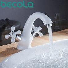 Бесплатная доставка белый двойной ручкой на бортике бассейна кран горячей и холодной воды кран ванной B-9136