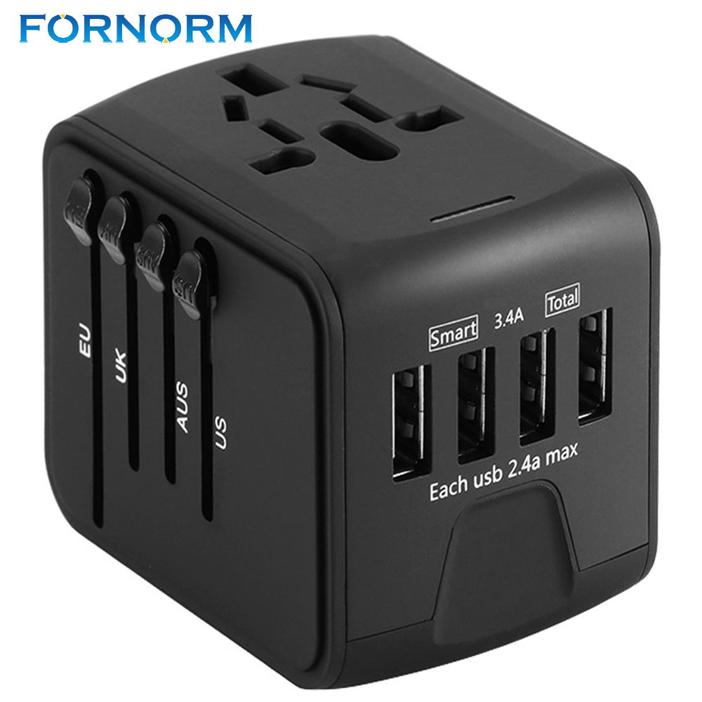 FORNORM Universal Travel Charger Adapter 4 USB Part Adaptor Worldwide Electrical Socket US UK EU AU International Travel Plug