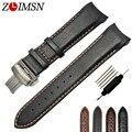 Lisa pulseiras de relógio preto marrom de couro faixa de relógio straps orange costurado curvo pulseiras homens 22 23 cinto fivelas de metal t035