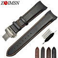 Smooth Watchbands Black Brown Leather Watch Band Straps Orange Stitched Curved Watchbands Men 22 23 Belt Metal Buckles T035