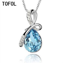 TOFOL Women Necklaces Pendants Blue Crystal Water Drop Chain  Necklace Womens Fashion Jewelry Gift For Female  XL011