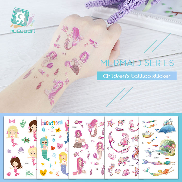 Rocooart New Cartoon Temporary Tattoo Mermaid Fake Tattoo Colorful Kids Taty For Children Present Ocean Animals Flash Tatoo Hand