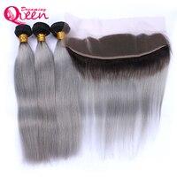 Бразильский Прямо Человеческие волосы 3 Связки с 13x4 Синтетический Frontal шнурка волос 1b серый Ombre Цвет не Волосы Remy Мечтая Queen продукты