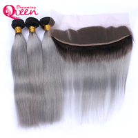 Brazilian Straight Human Hair 3 Bundles with 13x4 Lace Frontal 1B Grey Ombre Color Non Remy Hair Dreaming Queen Products