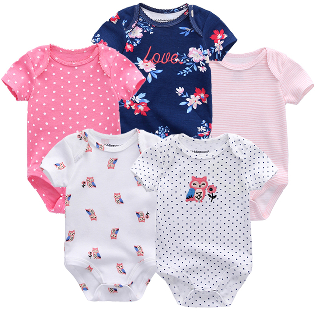 Thời trang Bé trai Bé gái quần áo trẻ sơ sinh 2019 trẻ sơ sinh bé cô gái phù hợp với cơ thể 5 pcs jumpsuit nhỏ bông bé bodysuits