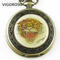 Hand Winding Mechanical Pocket Watch Bronze Tiger Clock Steampunk Watch Free Chain Skeleton Fob Watches