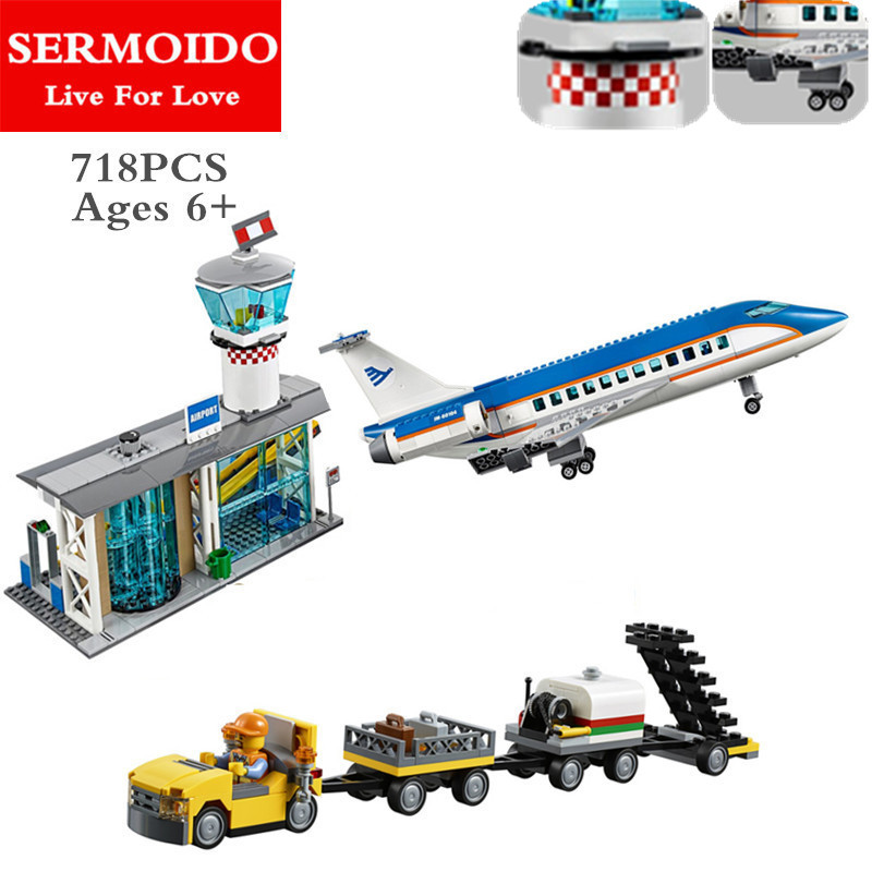 718PCS Building Blocks Bricks New Genuine City Series Airport Terminal Toys Compatible With Lepin 60104 For Children Gifts B90 city series police car motorcycle building blocks policeman models toys for children boy gifts compatible with legoeinglys 26014