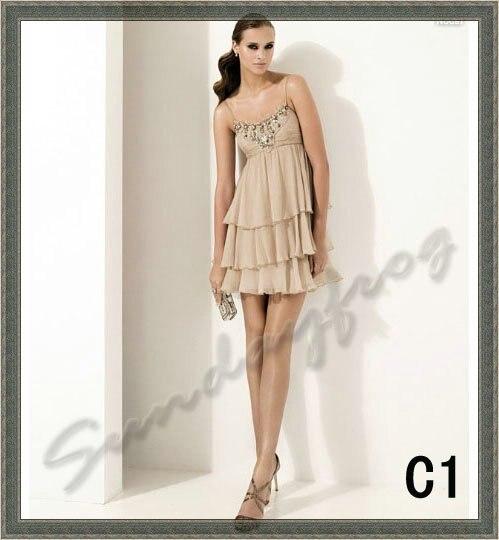 Best Selling Fashion A Line Chiffon Little Dress Spaghetti Strap ...