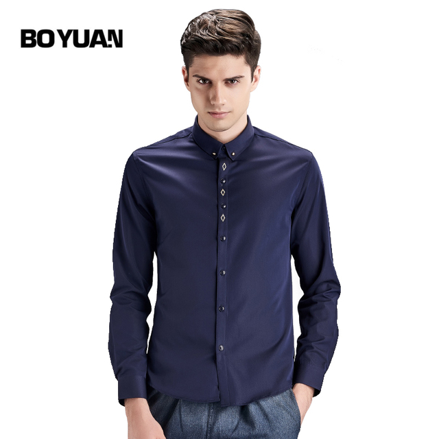 BOYUAN Men Shirt Camisa Masculina Brand Clothing Men Shirts Long Sleeve 2017 New Camisas Para Hombre Dress Shirt Male Solid 1601