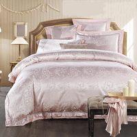 Home Textile Pink Jacquard Bedding Set Luxury 4/6pcs Solid Satin Quilt/Duvet Cover Wedding Bedclothes Bed Sheet Cotton