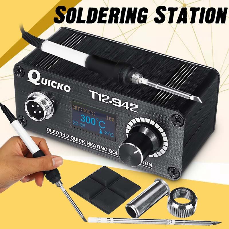 Mini T12-942 OLED Digital Soldering Station T12-907 Handle With T12-K Iron Tips Welding Tool