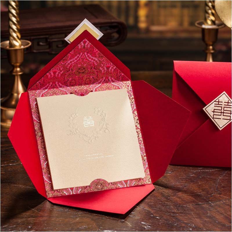 Red Chinese Style Wedding Invitations 2015 Free Printing Invitation Card With Envelopes Seals Convite De Casamento In Cards From Home Garden