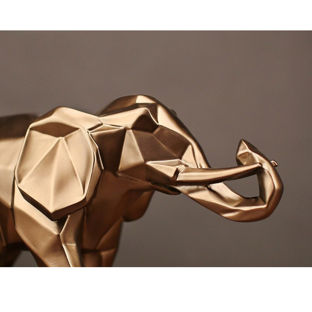 Modern Abstract Black Elephant Statue Resin Ornaments Home Decoration accessories Gift Geometric Resin Gold Elephant Sculpture 5