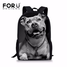 FORUDESIGNS School Bags for Kids Pit Bull Terrier Printing Preppy Backpack Boys Cool Bookbag Middle Shoulder Bag