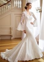 WEIYIN 2018 Mermaid Long Appliques Wedding Dress Long Sleeves Court Train Illusion Dream Church Princess Wedding Dresses