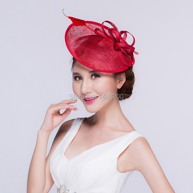 6aa69cc7e44 2016 New Fashion Linen Feather bridal Hats with Bow Small Cap Headdress For  Woman Dance Banquet Wedding Party Cappelli Sombrero