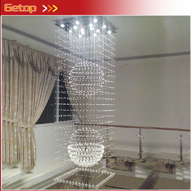 Modern K9 Crystal Chandelier Hanging Wire Crystal Ball Pendant Lamp GU10 LED Light Double Entry Stair Living Room Hall Lamp
