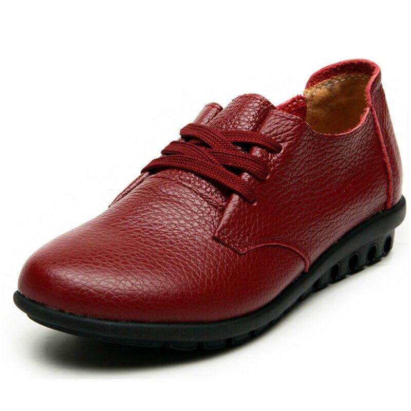 Otoño Nueva con cordones Zapatos Casual Mujer Madres Zapatos de cuero Suave Piel