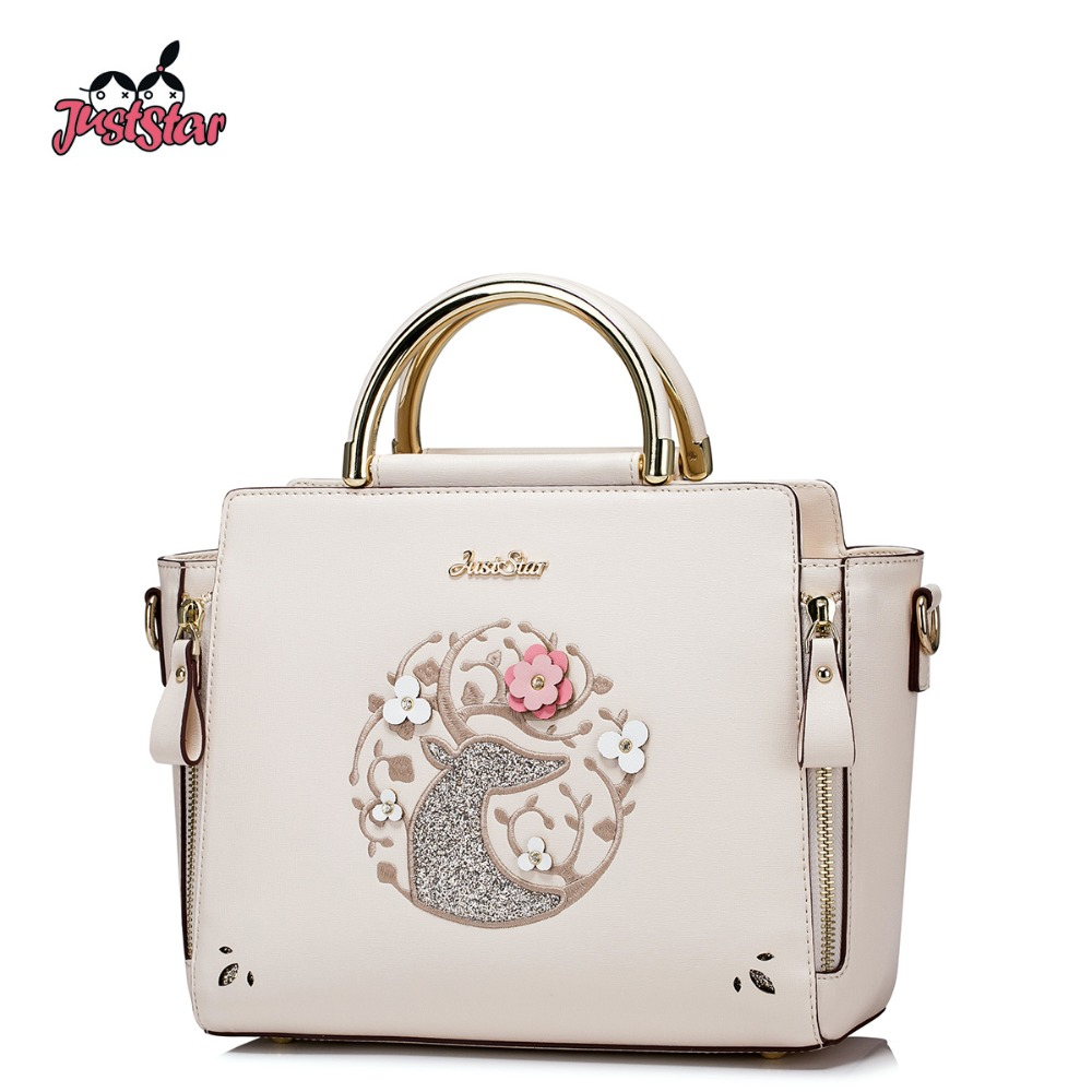 JUST STAR Women's PU Leather Handbag Ladies Fashion Tote Shoulder Purse Female Leisure All-match Brand Messenger Bags JZ4337 just star women s pu leather messenger bags ladies embroidery shoulder purse female chain leisure whale crossbody bags jz4468