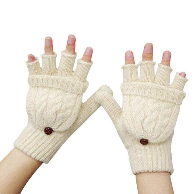 Invierno guantes mujer Mitten guantes sin dedos chica lana expuestos ...