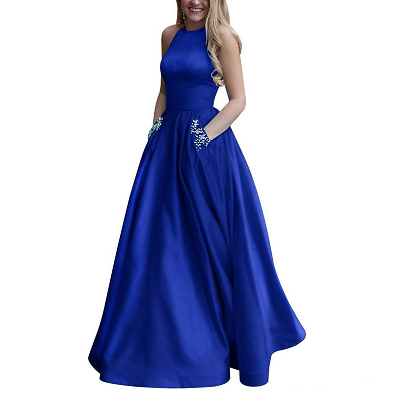 Women's royal blue dress Long Beaded Halter Satin Prom Dress A Line Open Back Evening Gowns Pockets formal dress lomal Dresses