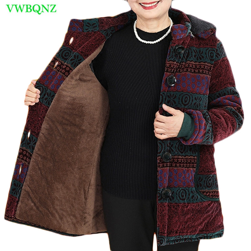 Middle-aged Women Down Cotton Jacket Autumn Winter Folk-custom Loose Warm Cotton Coat Women's Plus Size Hooded Outerwear 5XL 829