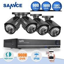 SANNCE 8-КАНАЛЬНЫЙ ВИДЕОРЕГИСТРАТОР 960 H 1080 P HDMI NVR Система ВИДЕОНАБЛЮДЕНИЯ Камеры Безопасности Дома 4 ШТ. ИК Открытый 900TVL Видео Surveillance kit