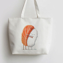 Japanese seafood Salmon sushi hug Anime Canvas Shopping bag Cartoon Tote bags Reusable Shopper Bag ,Grocery AN099