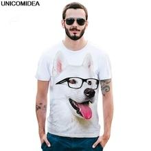 Summer Dog T Shirt Men Funny Glasses Samoyed Top Hipster Tees 3D TShirt Streetwear Printed Men Top Tees Shirt Poleras Hombre EUR