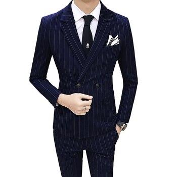 blue Formal men Striped Suit 3 Piece Set (suit Blazer+Vest+Pants) Men suit jacket vests Waistcoat pants