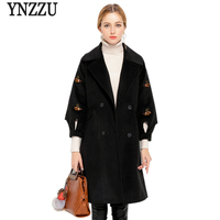 Brand Winter Coat Women Vintage Embroidery Warm Cotton Padded Wool Coat Long Women S Cashmere Female