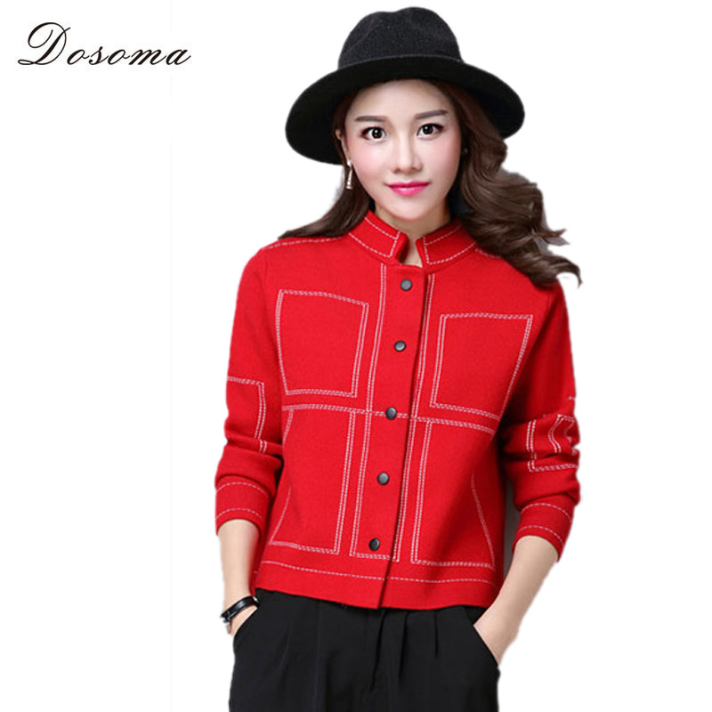 plaid knitting patterns womens cardigans 2016 autumn elegant short ...