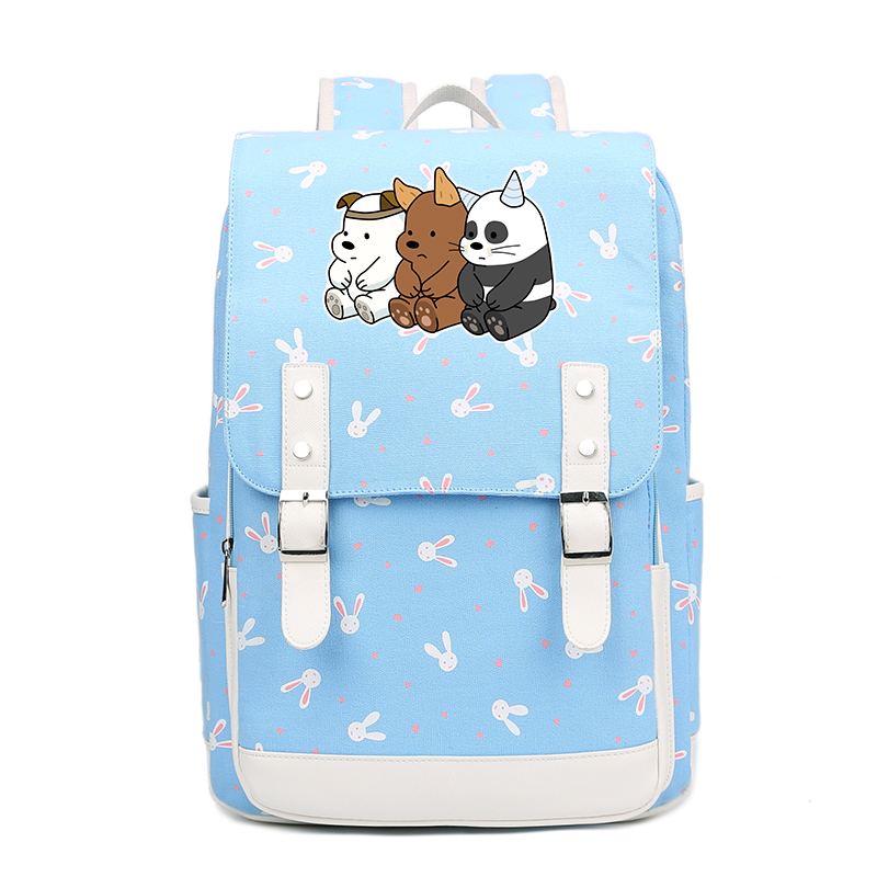 anime We Bare Bears backpack USB Charge Anti Theft men Laptop student book bag
