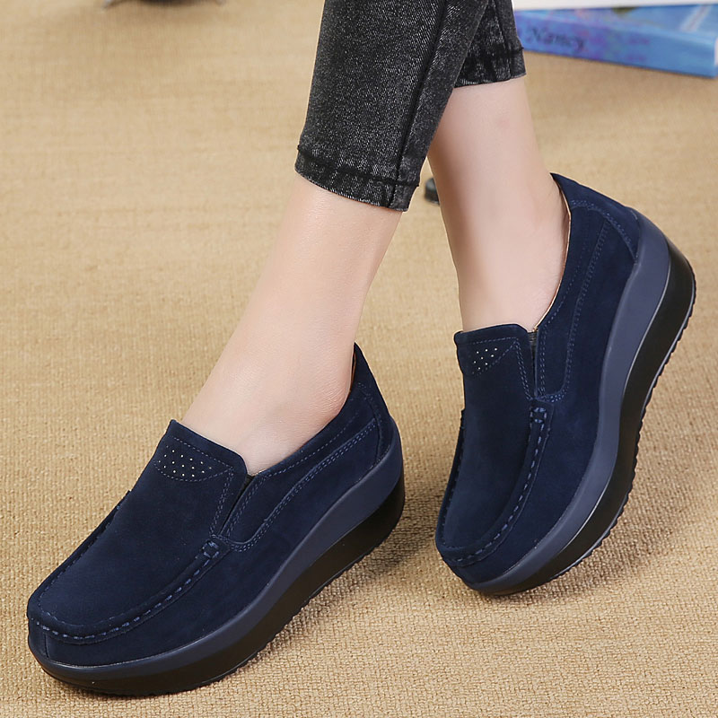 MWY Women Flat Platform Loafers Ladies Elegant   Suede     Leather   Moccasins Shoes Woman Slip On Moccasin Women's Blue Casual Shoes