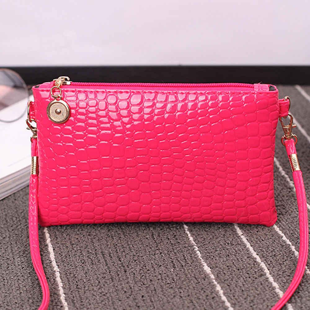 Moda mini bag ombro feminino saco da forma de crocodilo padrão de couro com zíper bolsa de embreagem cor sólida