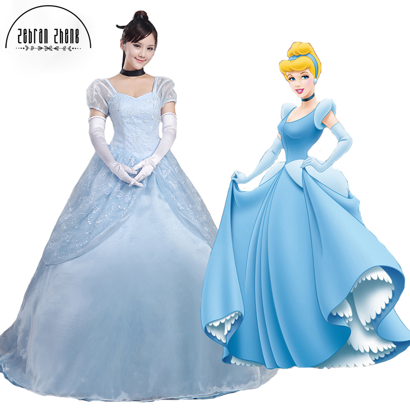 Top Quality ! Cinderella Princess Dress Costumecosplay Halloween Costume For Women Custom-Made Free Shipping
