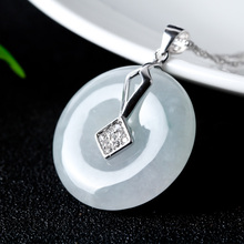 S925 Silver Jade Pingan Kou Pendant Necklace Lucky Amulet Jewelry Chinese Style Hand-carved Safety Button  Gift