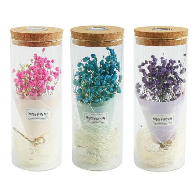 Baby  breath in a Glass Dome LED Lightening Lamp Decor Gift with 3 Colors Home Party Artificial & Dried Flowers