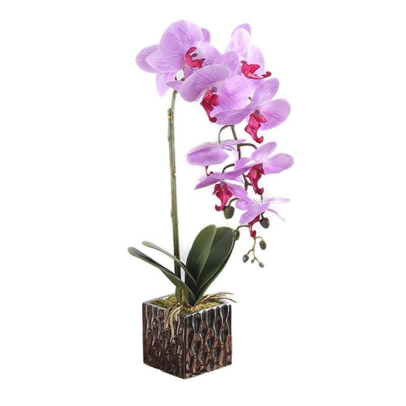 1 Set Real Touch Simulation <font><b>Flower</b></font> + Vase Artificial Orchid White Silk Cloth <font><b>Flowers</b></font> Arrangement Well Bonsai Plant with Vase