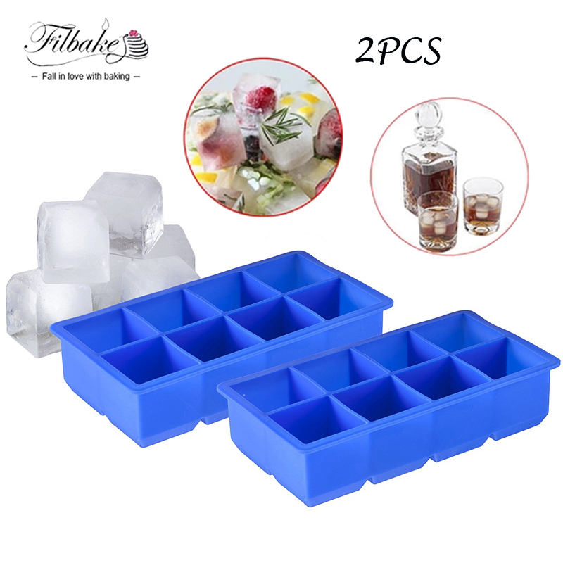 Arctic Chill Large Ice Cube Tray 2 Pack 8 Giant 2 Inch Cubes Keep Your Drink Chilled For Hours Without Diluting It Cube Ice Tray