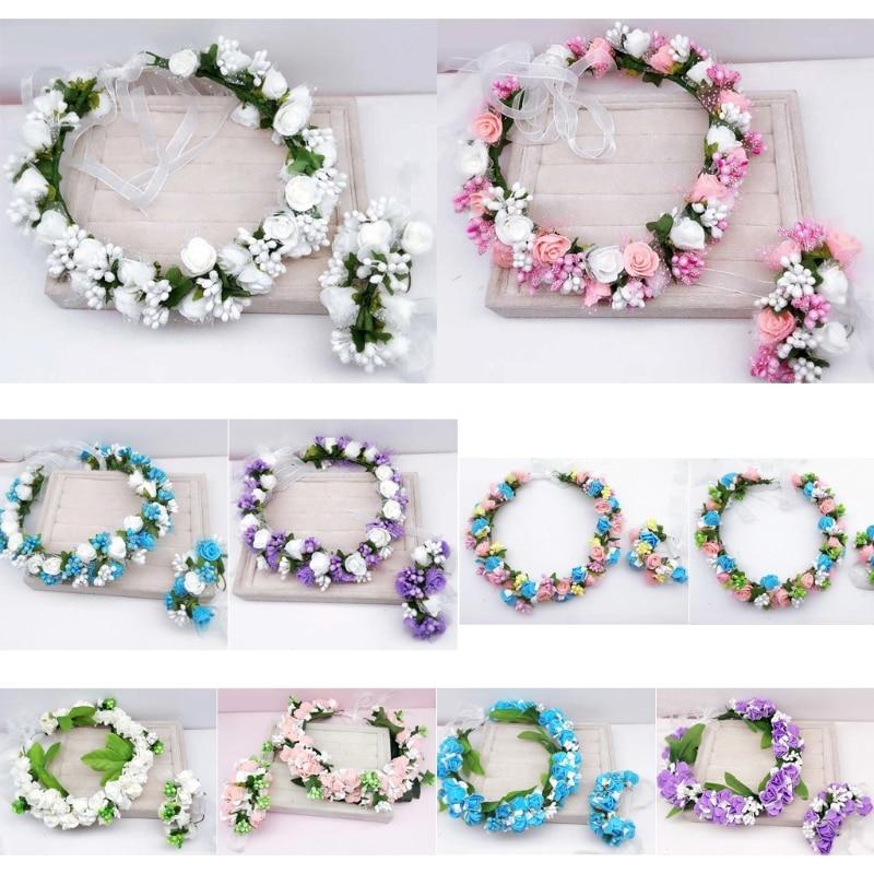 Hecho a mano festival de la cinta del pelo accesorios del pelo de la flor artificial y floral de las mujeres chica boda diadema corona guirnalda handwrist conjuntos