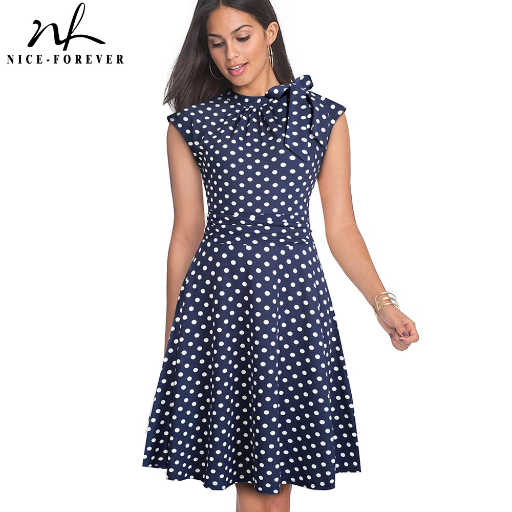 Nice-forever Retro Vintage Polka Dots Pleated Pinup Vestidos Work Business Party A-Line Swing Flare Women Dress A145