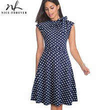 Nice forever Retro Vintage Polka Dots Pleated Pinup vestidos Work Business Party A Line Swing Flare Women Dress A145