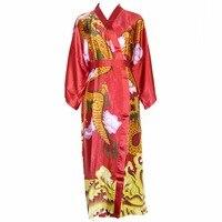 الأحمر الجدة طباعة التنين النساء كيمونو رداء حمام ثوب الصينية العرقية رايون النوم البشكير نوم سيدة مثير طويلة