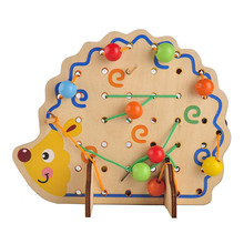 Wooden Math Toys Hedgehog Lacing Beads Fruits Kid Gift Bright Develop Children Intelligent Learning Educational Soft Montessori