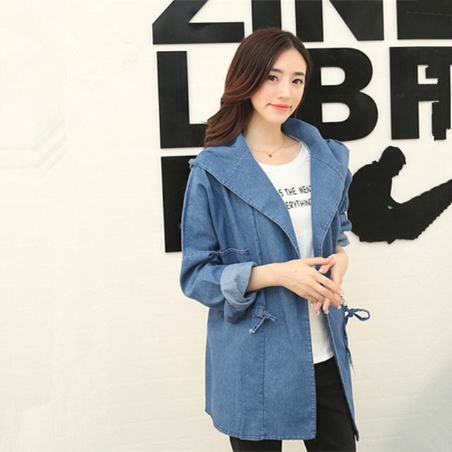2015 Женщин Осень Корейской Капюшоном Тонкий джинсы Плащ длинные участки Свободно Длинными рукавами Случайные Моде джинсовые пальто верхней одежды