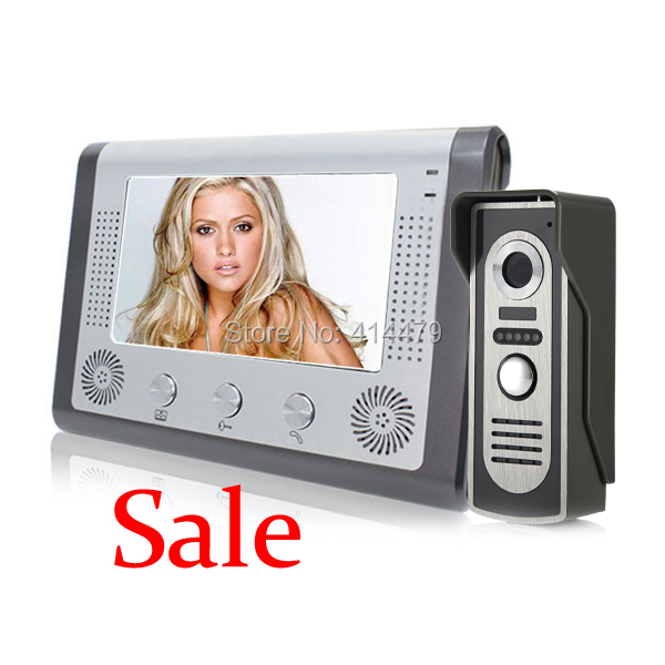 SALE Home Wired Video Door Phone Intercom System with 7 inch LCD Screen Night Vision Weatherproof Camera 5M Cable as Gift 7 inch color tft lcd wired video door phone home doorbell intercom camera system with 1 camera 1 monitor support night vision